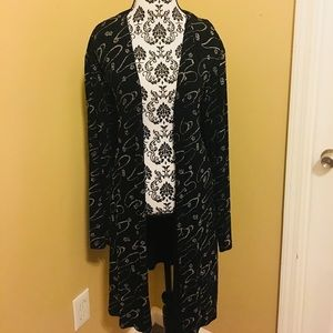 ONYX Nite Plus Size Black Long Open Front Jacket
